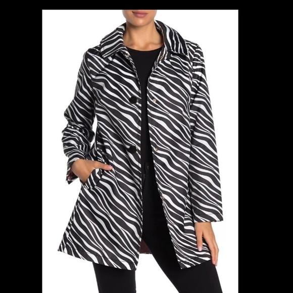 Kate Spade Zebra Print Hooded Raincoat. Size M